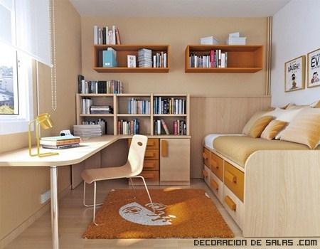 Aprovecha espacio en habitaciones peque as decoraci n de for Habitaciones pequenas aprovechar espacio