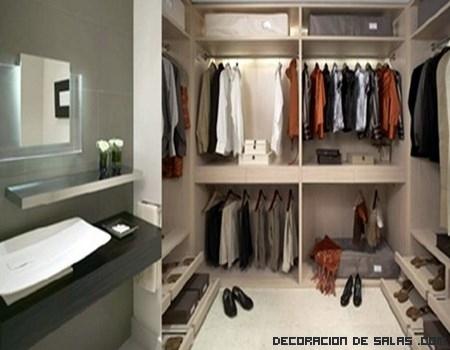 Baños minimalistas con vestidores