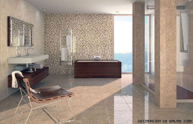 Baños en tonos marrón