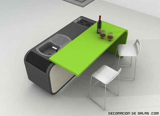 Cocinas con mesas incorporadas