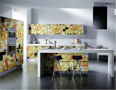 cocinas con dibujos y colores