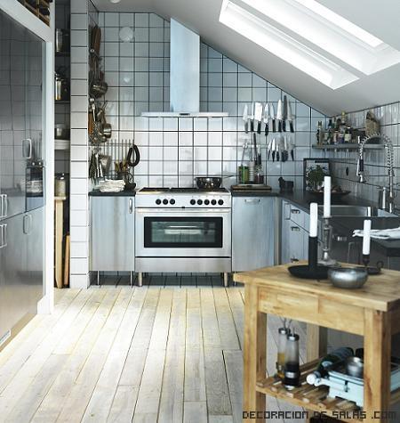 cocinas minimalistas con azulejos en blanco