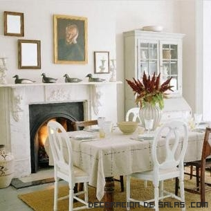 Comedores en blanco con chimenea
