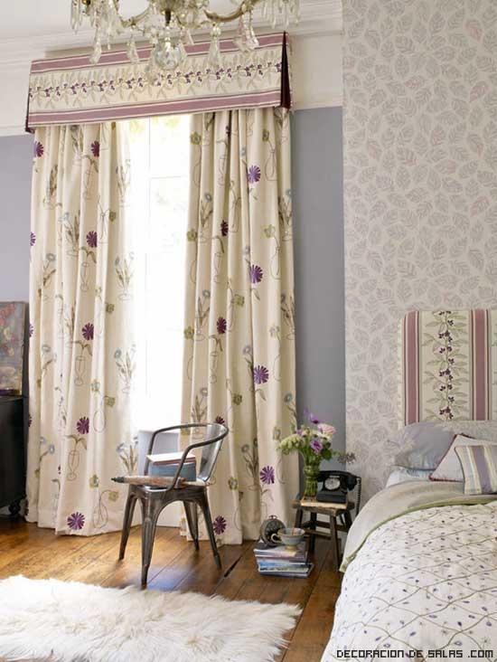 cortinas en tonos malva para dormitorios