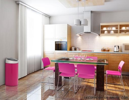 cocinas en color rosa