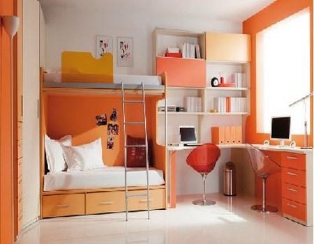 dormitorios en color naranja
