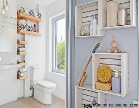 estanterías de madera para baños