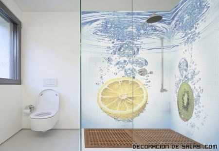 baños con dibujos de colores