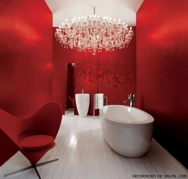 baños modernos en rojo