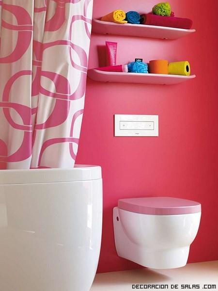 decoración de baños modernos en rosa