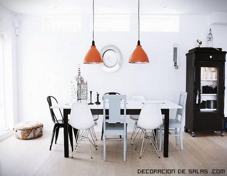 combinar el blanco y negro en la decoración