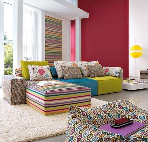 Sofás estampados de colores