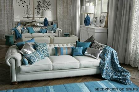 toques de azul en el salón