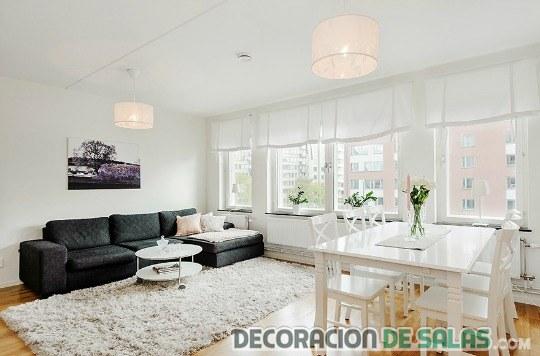 apartamento sofá en color negro