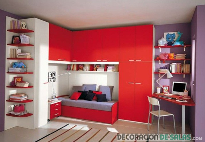 armario en color rojo para dormitorio