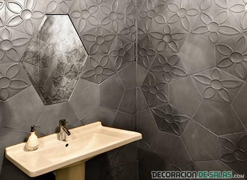 azulejos de baño con mosaico de hormigón