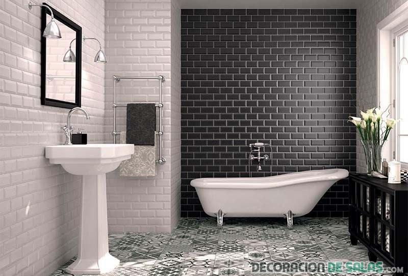 azulejos metro baño en color negro