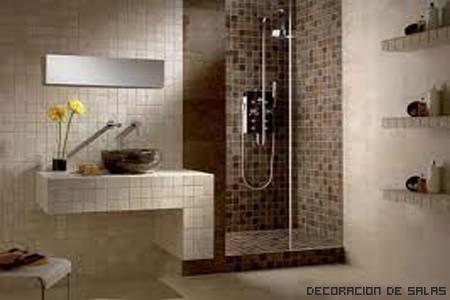 baño azulejos marron