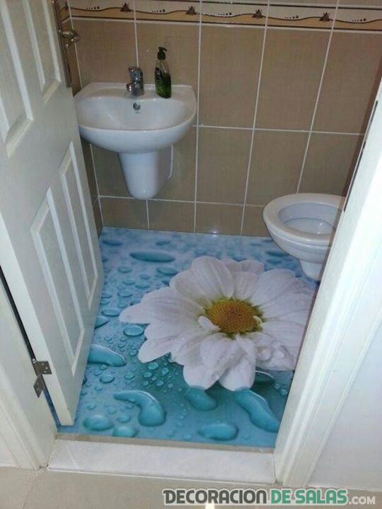 baño con suelo 3d flor