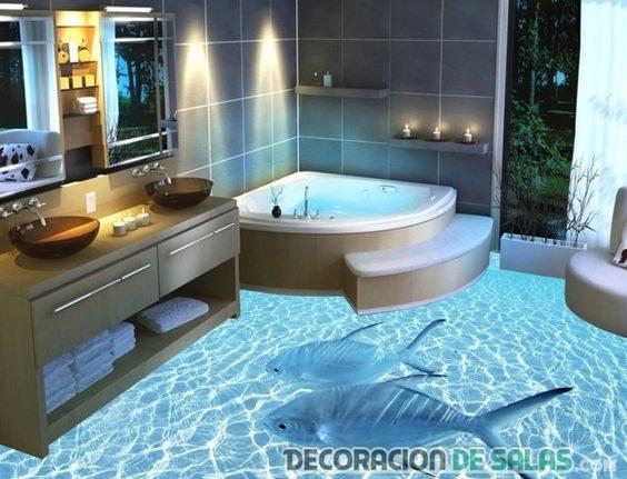 baño con suelo 3d tiburones