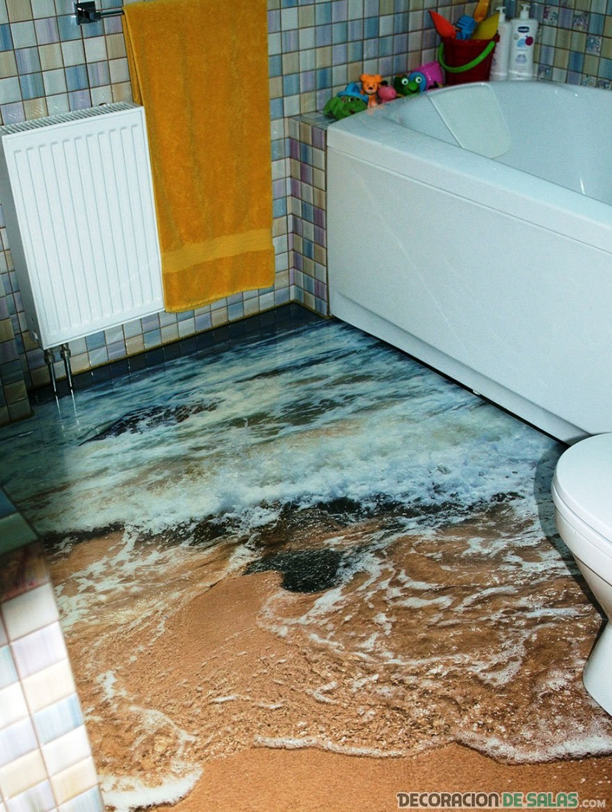baño con suelo en 3d