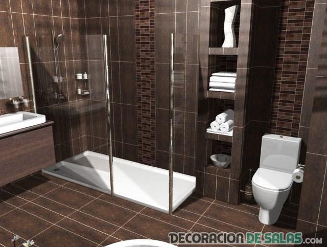 baño de diseño en marrón intenso