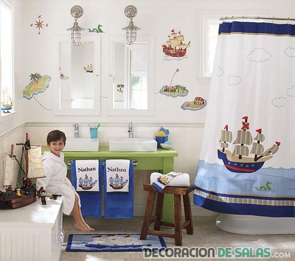 baño de niños en color azul