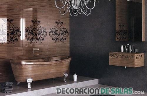 baño en madera tallado