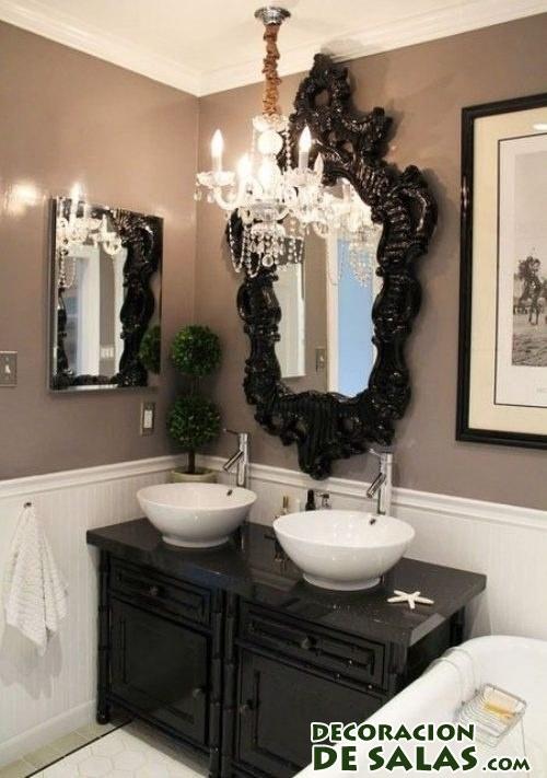 baño en negro con glamour