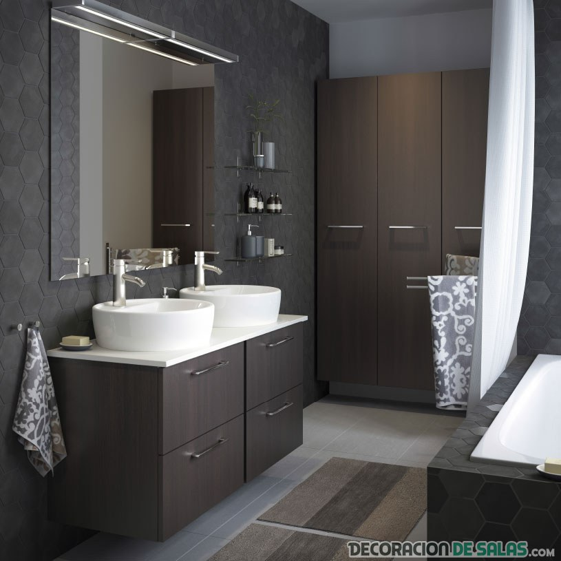 baño grande decoracion wengue