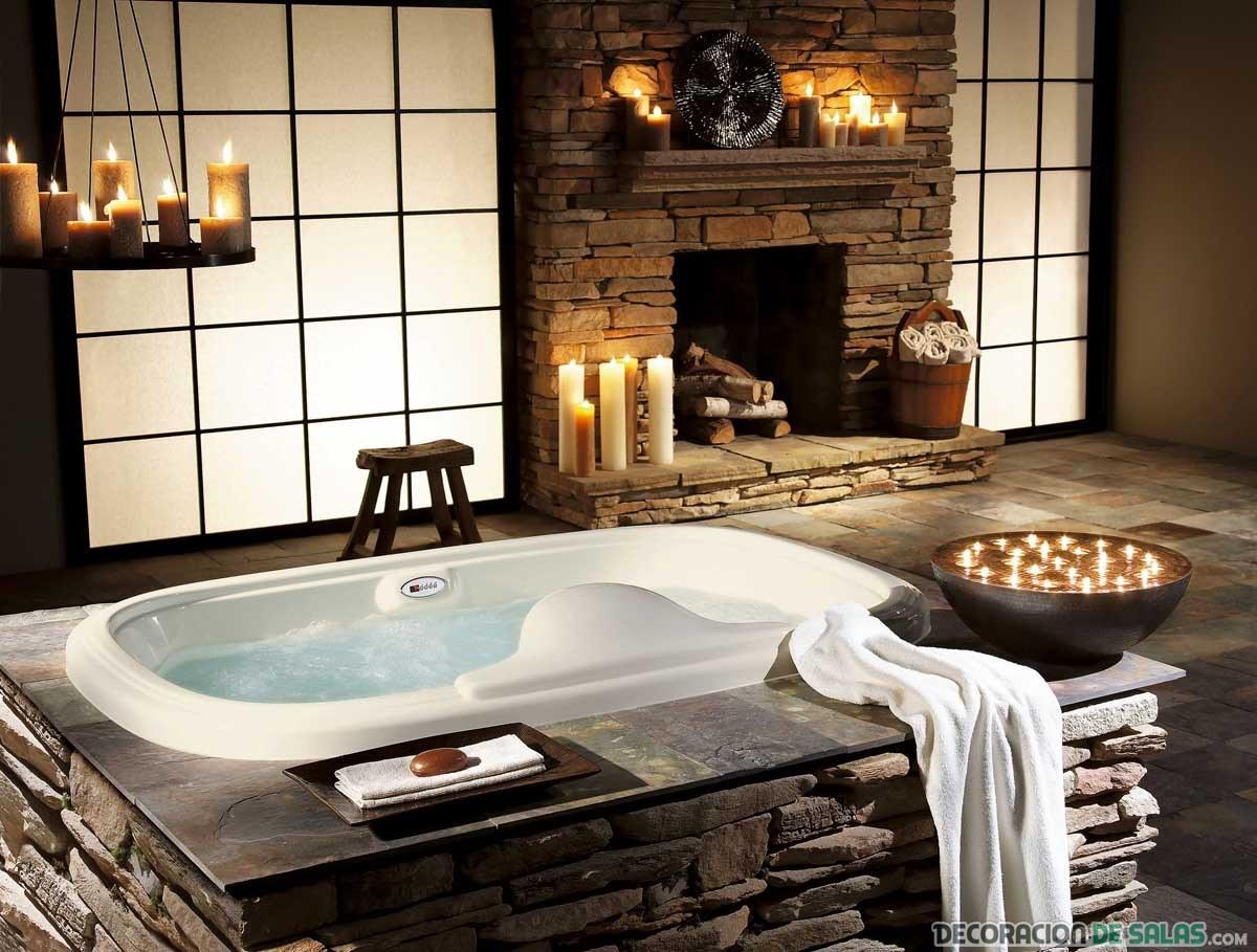 baño lujoso y rústico