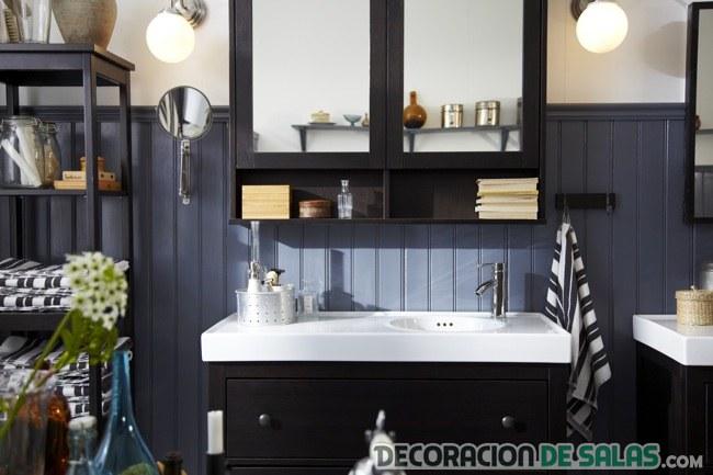 baño negro ikea