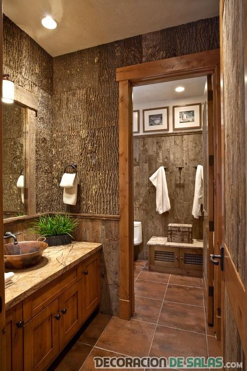baño rústico con paredes de madera