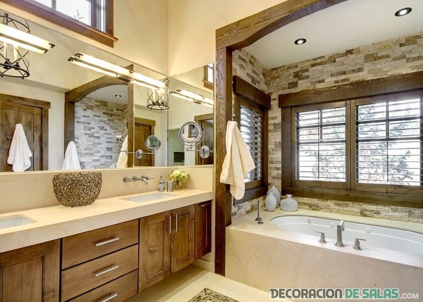 baño rústico elegante