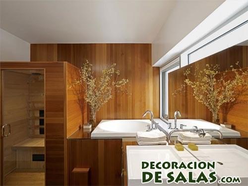 baños decorados en madera