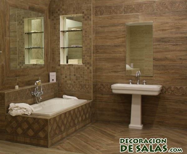 baños en colores marrones