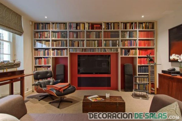 biblioteca para salón en color rojo