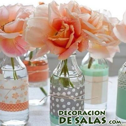 botellas decoradas para centros de mesa