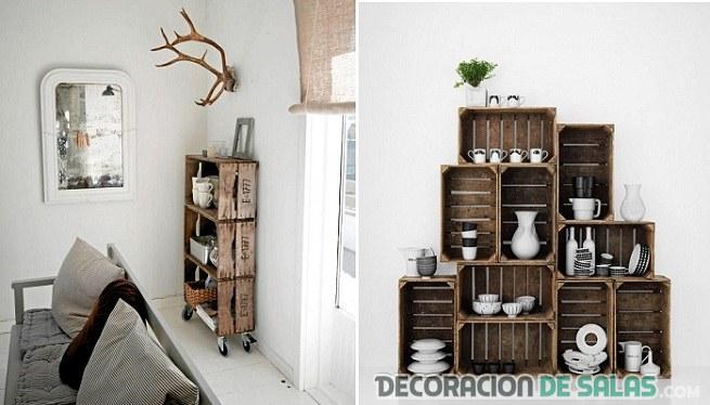 cajas de madera apiladas de manera asimétrica