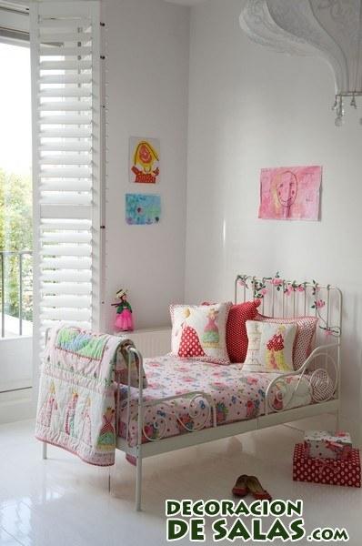 cama blanca de forja infantil