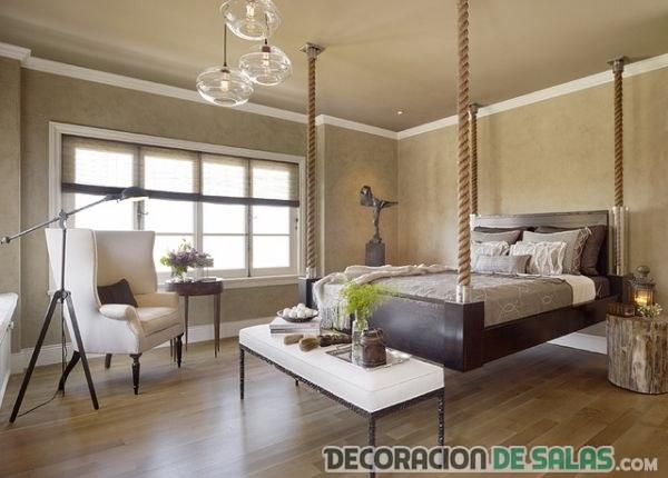 cama colgante dormitorio marron