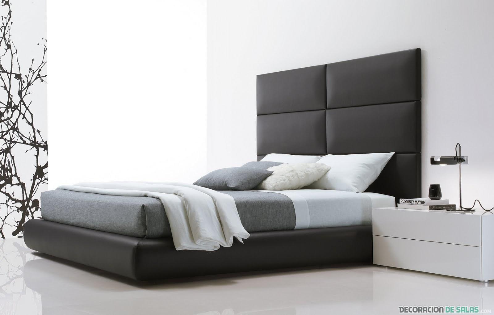 cama con cabecero de cuero