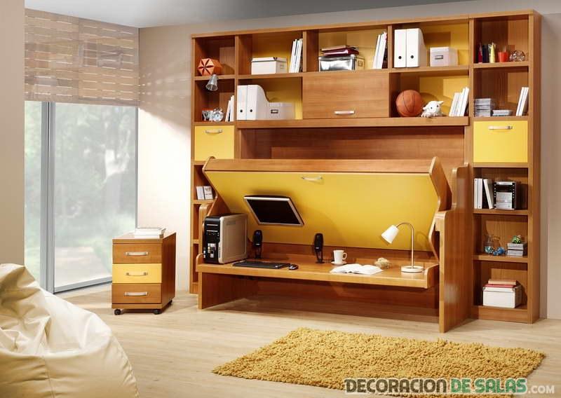 cama con estanterías
