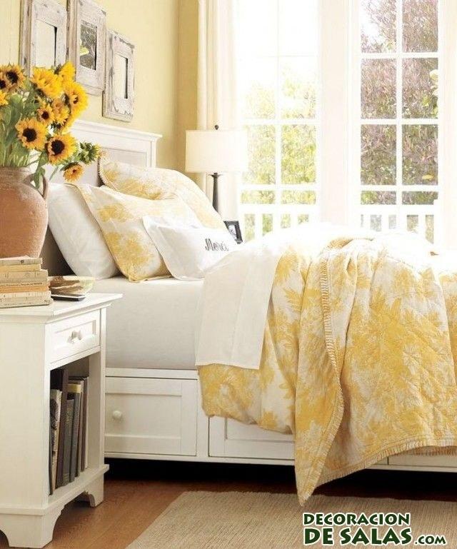 cama de dormitorio en color amarillo
