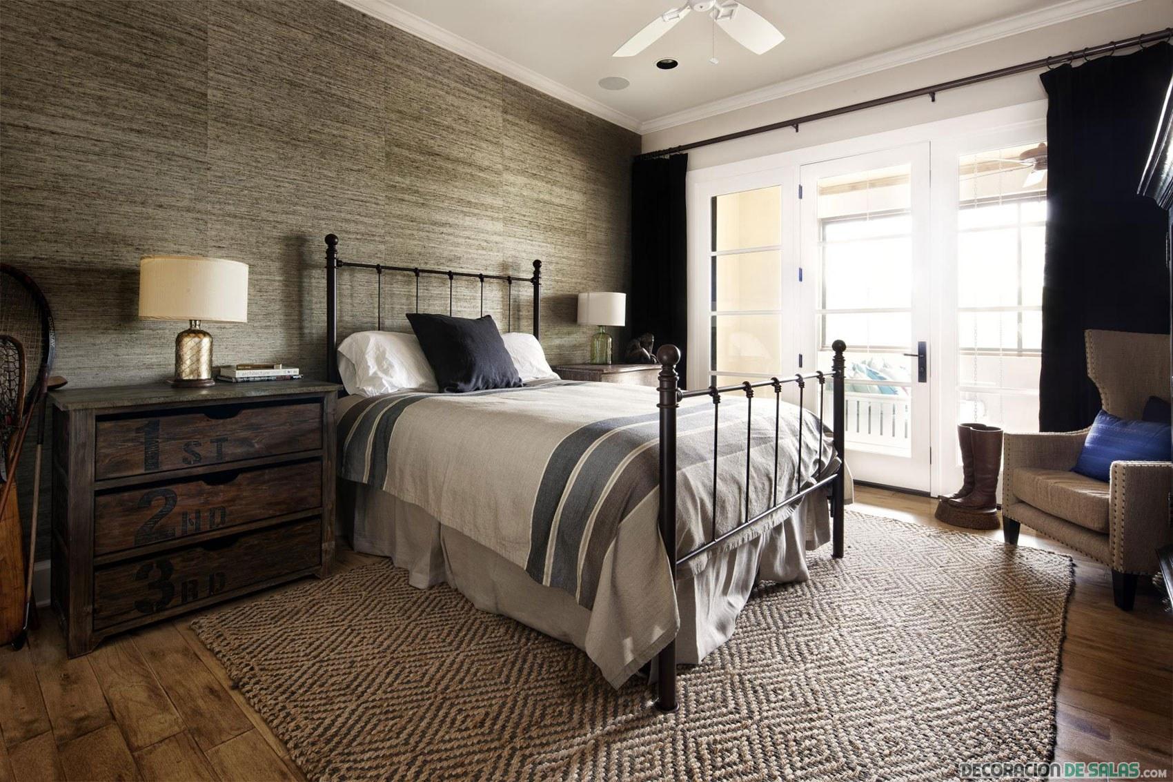 cama de forja en decoración rústica