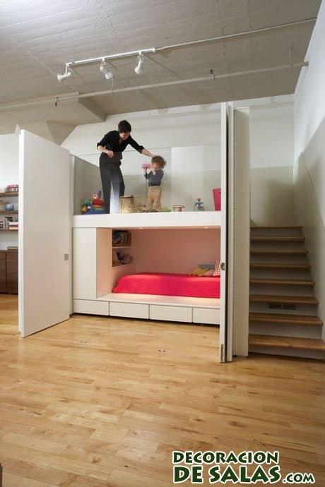 cama escondida bajo soporte moderno