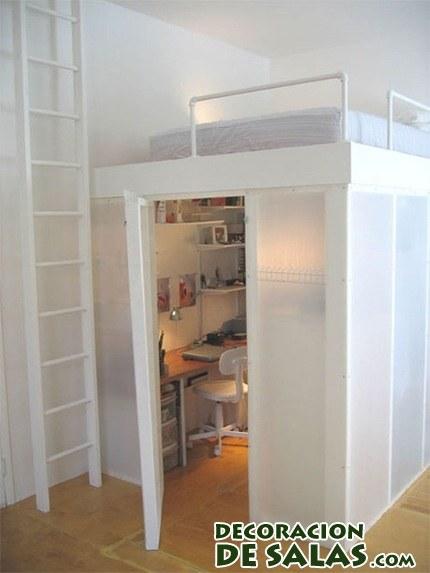 cama litera con estudio oculto