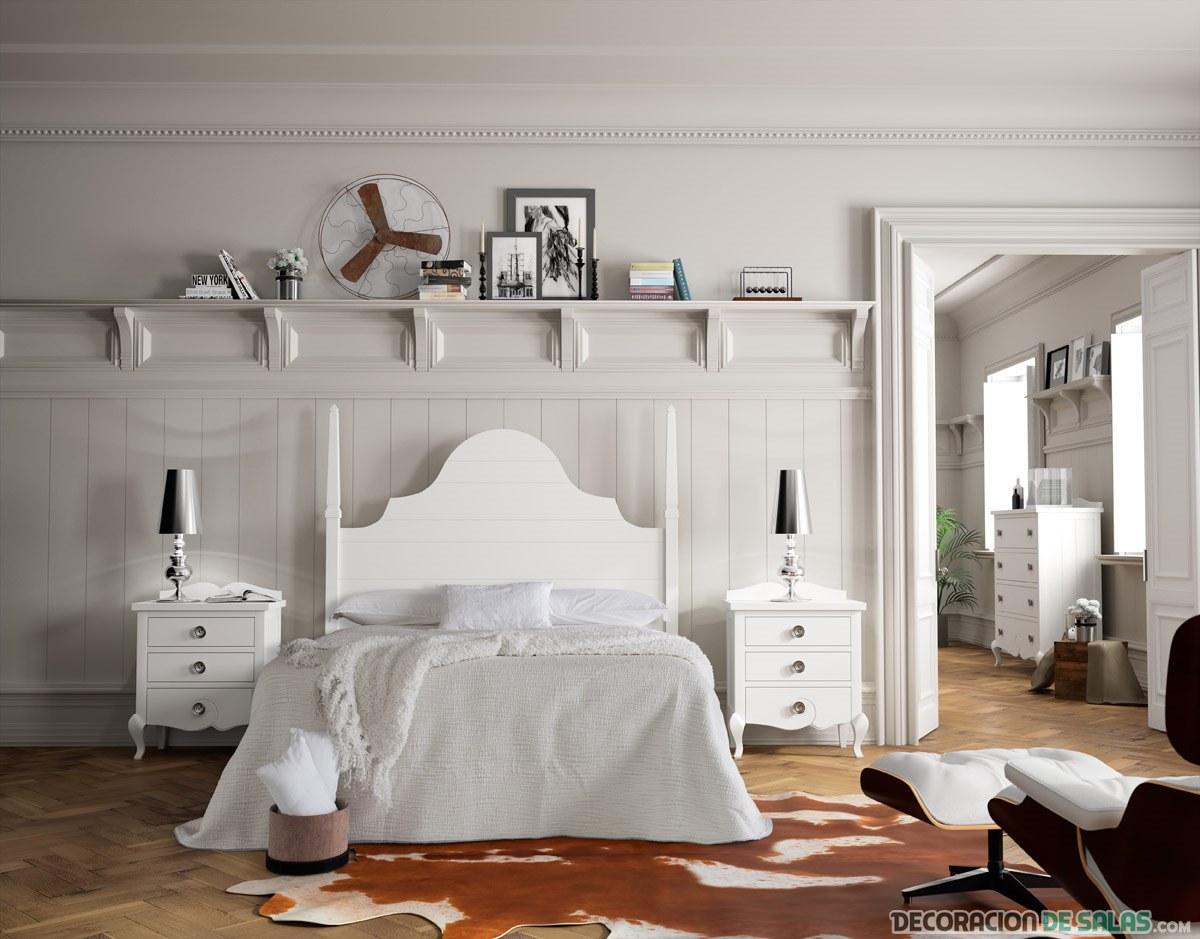 cama madera en color blanco