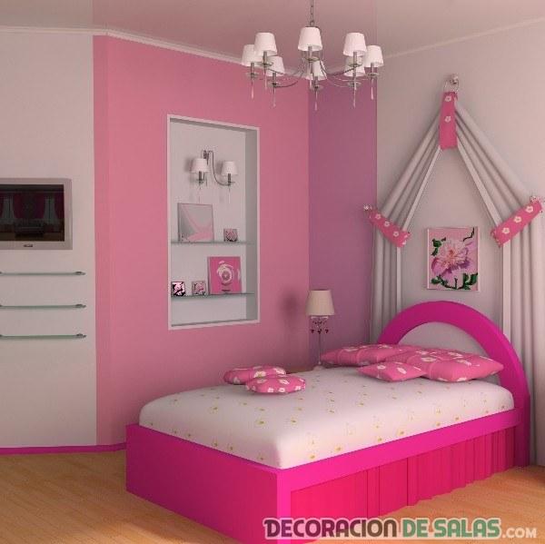 cama pequeña en habitación rosa
