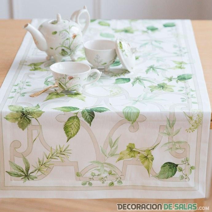 camino de mesa estampado verde